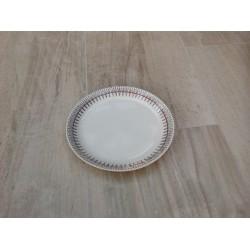 Middags tallerken med sort mønster og lilla streg (Egersund)