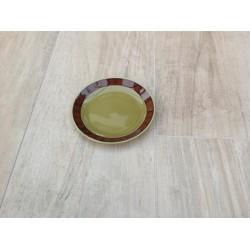 Grøn tallerken med brun mønsterkant Stavanger Flint