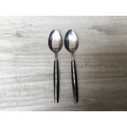 Retro spise ske med sort skaft og stål