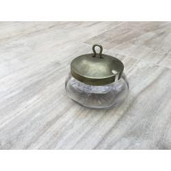 Lille glasskål med metallåg m/hul til ske