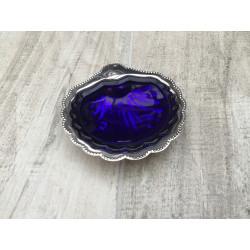 "Muslingeskål i ""sølvplet"" med blå glasskål"