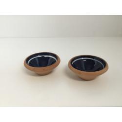 Lille lerskål med glaseret indeni blå med hvid streg