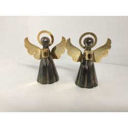 Engel i metal med messing vinger og gloria til juletræslys